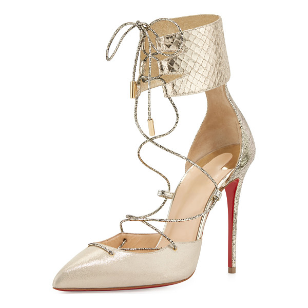 CHRISTIAN LOUBOUTIN Corsankle Lace-Up 100mm Red Sole Pump - Christian Louboutin lam and snake and lizard embossed