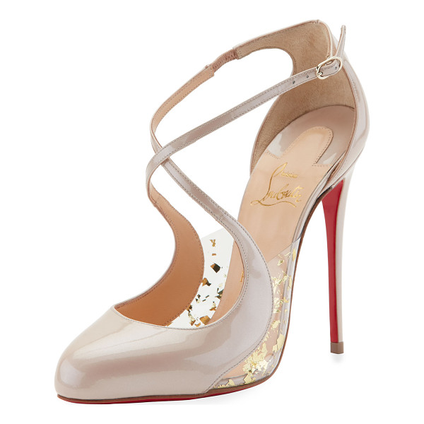 "CHRISTIAN LOUBOUTIN Crossettinetta Patent Red Sole Pump - Christian Louboutin pump in patent leather. 4"" covered..."