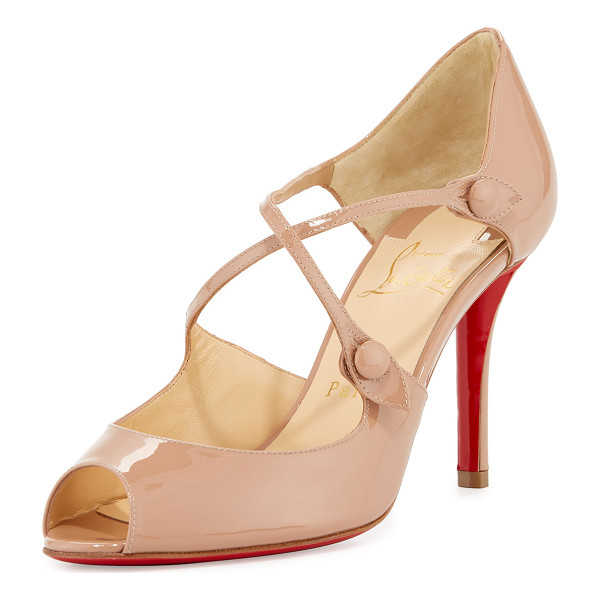 "CHRISTIAN LOUBOUTIN Debriditoe Patent 85mm Red Sole Pump - Christian Louboutin patent leather pump. 3.3"" covered heel...."