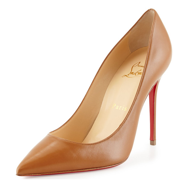 "CHRISTIAN LOUBOUTIN Decollette Leather 100mm Red Sole Pump - Christian Louboutin matte kidskin pump. 4"" covered stiletto"