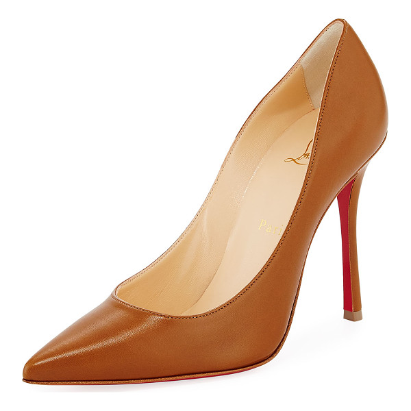 """CHRISTIAN LOUBOUTIN Decoltish Point-Toe Red Sole Pump - Christian Louboutin pump in napa leather. 4"""" covered..."""