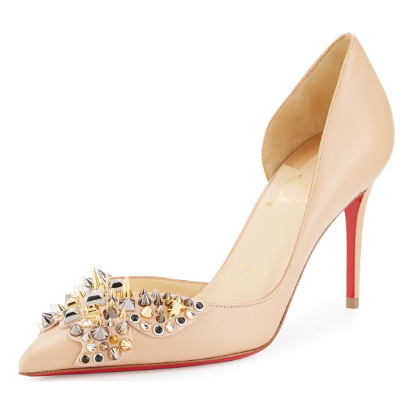 CHRISTIAN LOUBOUTIN Farfa Spikes Half-d'Orsay 85mm Red Sole Pump - Christian Louboutin napa leather pump, decorated with