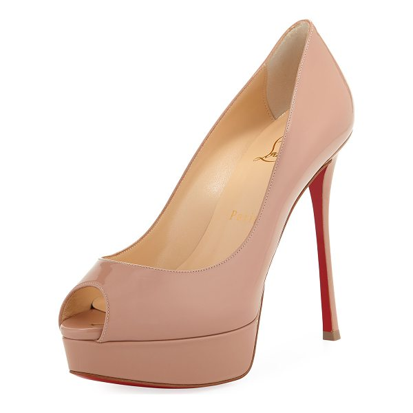 "CHRISTIAN LOUBOUTIN Fetish Peep-Toe Platform Red Sole Pump - Christian Louboutin patent leather pump. 6"" covered..."