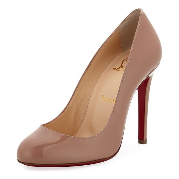 "CHRISTIAN LOUBOUTIN Fifille Patent Red Sole Pump - Christian Louboutin patent leather pump. 4"" covered..."