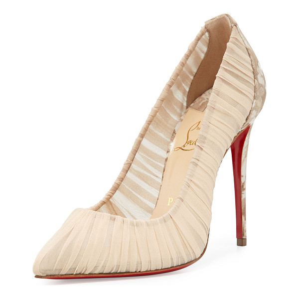 CHRISTIAN LOUBOUTIN Follie Draperia Ruched Red Sole Pump - Christian Louboutin ruched silk pump. Marbled rose-print...