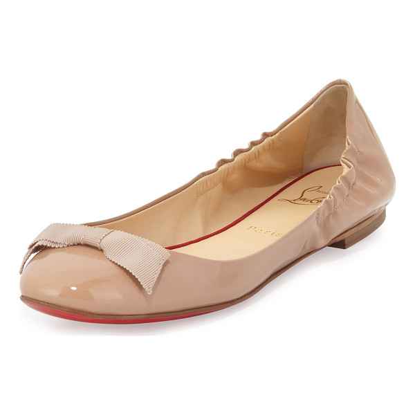 "CHRISTIAN LOUBOUTIN Gloriana patent bow red sole skimmer - Christian Louboutin patent leather skimmer flat. 0. 3"" flat..."