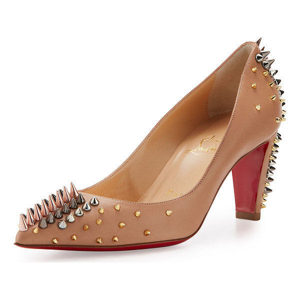 CHRISTIAN LOUBOUTIN Goldopump Spiked Leather Red Sole Pump - Christian Louboutin napa leather pump. Mixed-metal spikes...