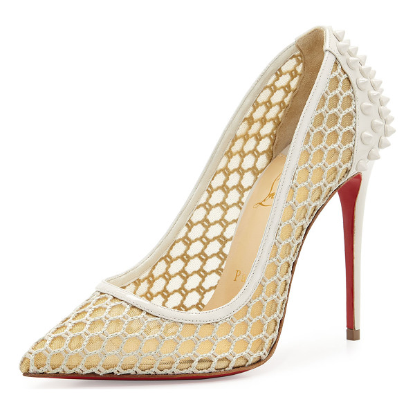 CHRISTIAN LOUBOUTIN Guni Mesh Spike 100mm Red Sole Pump - Christian Louboutin sheer mesh fabric pump with patent