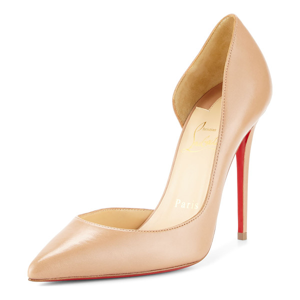 "CHRISTIAN LOUBOUTIN Iriza Half-d'Orsay 100mm Red Sole Pump - Christian Louboutin leather pump. 4"" covered heel. Pointed..."