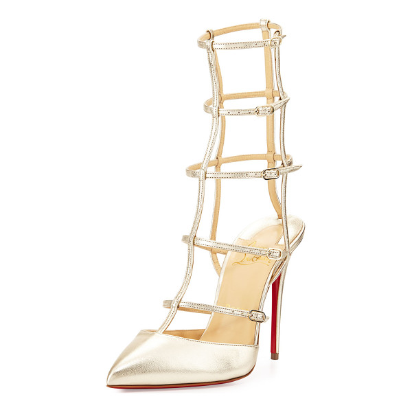 "CHRISTIAN LOUBOUTIN Kadreyana Caged 100mm Red Sole Pump - Christian Louboutin metallic napa leather pump. 4"" covered..."