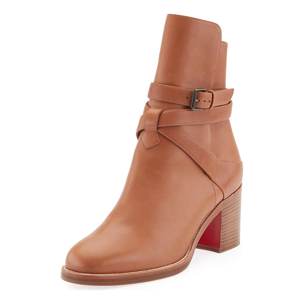 "CHRISTIAN LOUBOUTIN Karistrap Leather 70mm Red Sole Ankle Boot - Christian Louboutin calfskin ankle boot. 2.8"" covered heel...."
