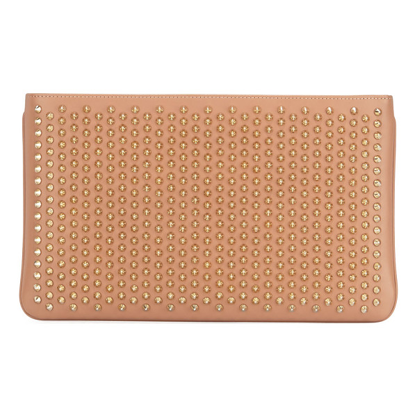 CHRISTIAN LOUBOUTIN Loubiposh Spiked Clutch Bag - Christian Louboutin calf leather clutch with tonal spike