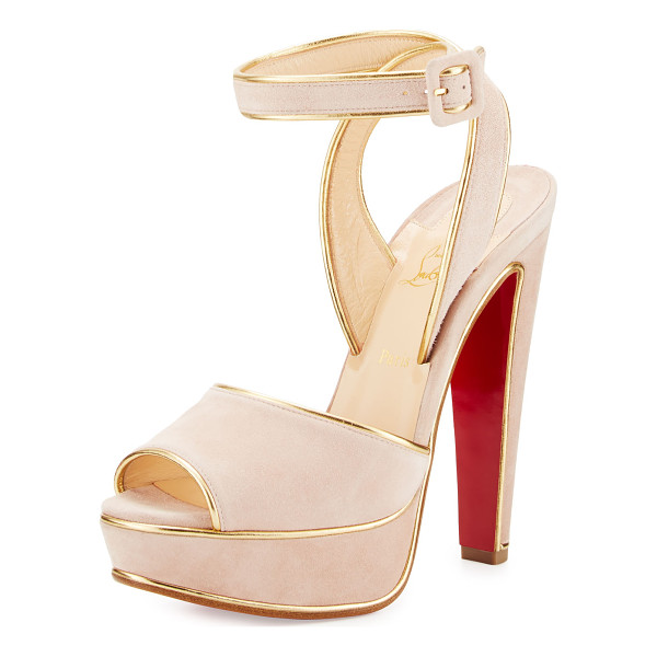 """CHRISTIAN LOUBOUTIN Louloudance suede platform red sole sandal - Christian Louboutin suede sandal. 5. 5"""" covered heel; 1""""..."""