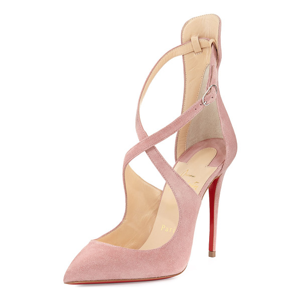 "CHRISTIAN LOUBOUTIN Marlenarock Crisscross Suede Red Sole Pump - Christian Louboutin calf suede pump. 4"" covered heel...."