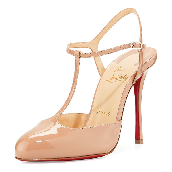 CHRISTIAN LOUBOUTIN Me Pam Patent T-Strap 100mm Red Sole Pump - Christian Louboutin patent leather pump. Available in...