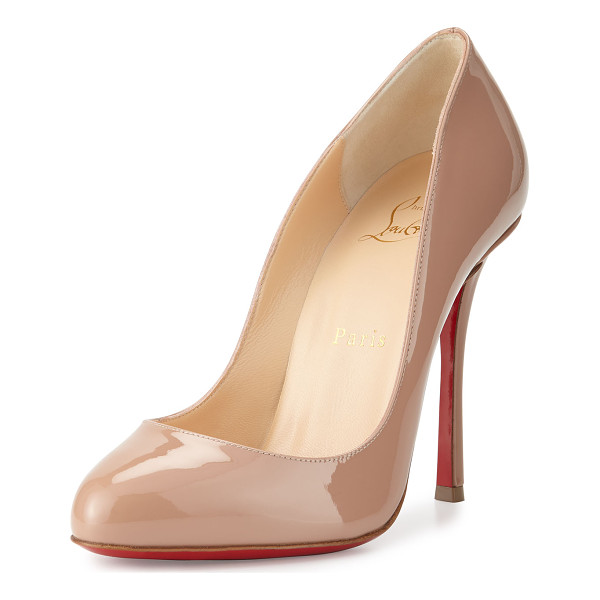 "CHRISTIAN LOUBOUTIN Merci Allen Patent 100mm Red Sole Pump - Christian Louboutin patent leather pump. 4"" covered..."