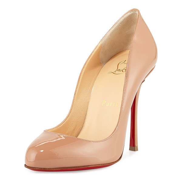 """CHRISTIAN LOUBOUTIN Merci Allen Patent 100mm Red Sole Pump - Christian Louboutin patent leather pump. 4"""" covered heel...."""