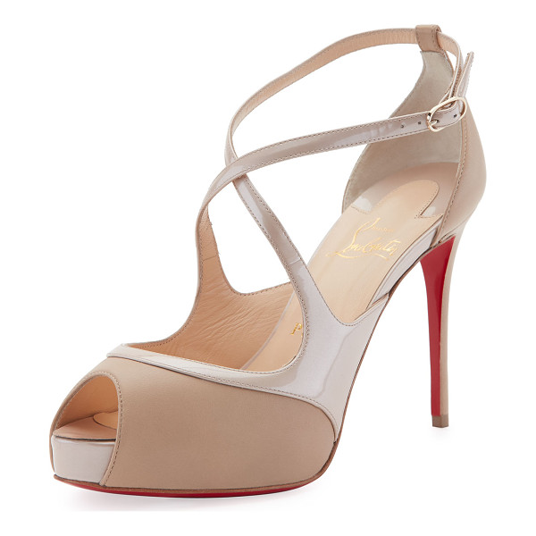 "CHRISTIAN LOUBOUTIN Mira Bella Crisscross Platform Red Sole Sandal - Christian Louboutin napa and patent leather sandal. 4""..."