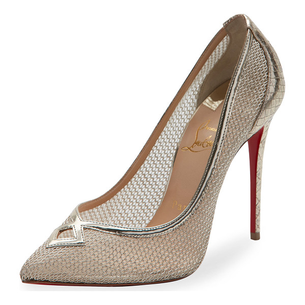 CHRISTIAN LOUBOUTIN Neoalto Mesh 100mm Red Sole Pump - Christian Louboutin metallic-finish pump in sheer mesh with
