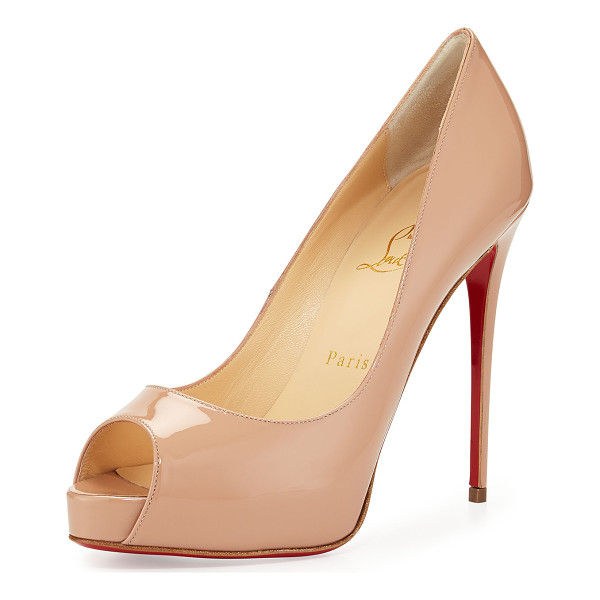 "CHRISTIAN LOUBOUTIN New Very Prive Patent Red Sole Pump - Christian Louboutin patent leather pump. 5"" covered..."