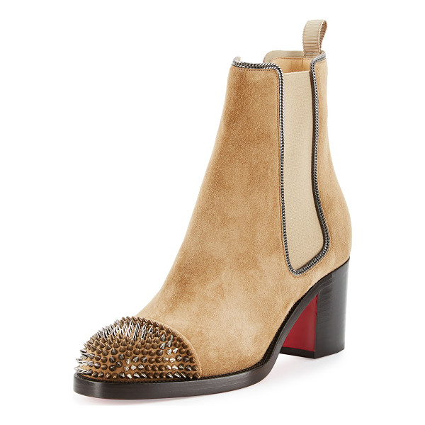 CHRISTIAN LOUBOUTIN Otaboo Spike-Toe 70mm Red Sole Bootie - Christian Louboutin suede Chelsea bootie with fine curb