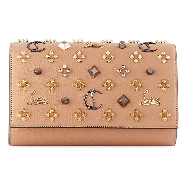 CHRISTIAN LOUBOUTIN Paloma Fold-Over Embellished Clutch Bag - Christian Louboutin grained calfskin clutch bag with mixed...