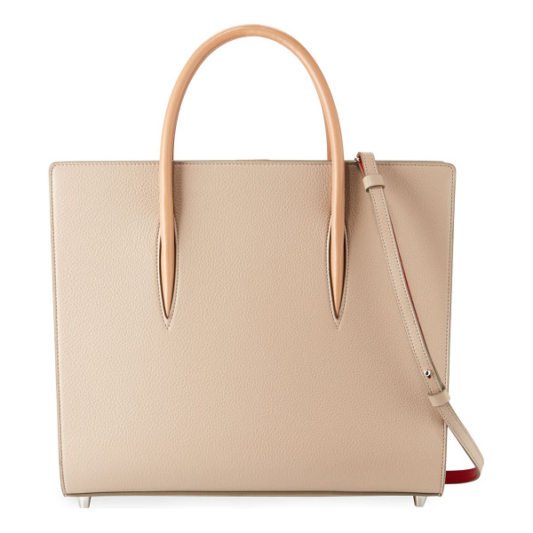 CHRISTIAN LOUBOUTIN Paloma Large Triple-Gusset Tote Bag - Christian Louboutin calfskin tote bag with spiked patent...