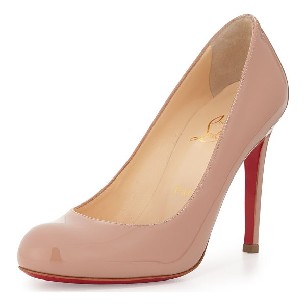 """CHRISTIAN LOUBOUTIN Patent Round-Toe Red Sole Pump - Christian Louboutin patent leather pump. 4"""" covered heel..."""