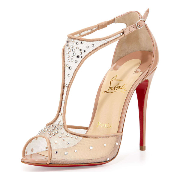 CHRISTIAN LOUBOUTIN Patinana Strass Red Sole Sandal - Christian Louboutin sandal with mesh T-strap upper and...