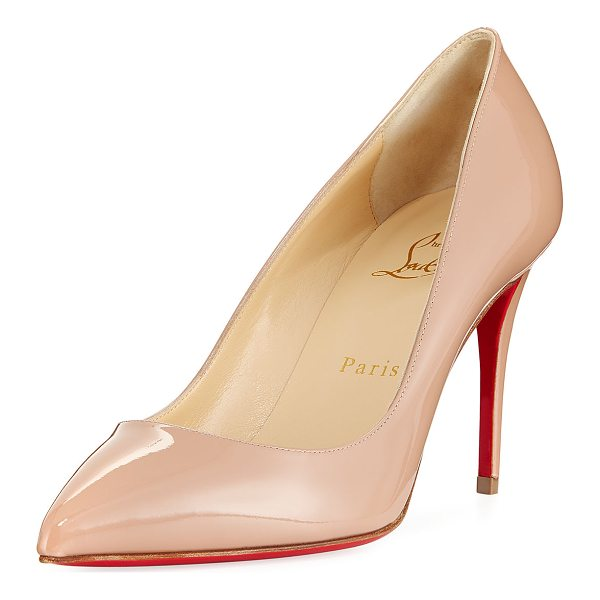 """CHRISTIAN LOUBOUTIN Pigalle Follies 85mm Patent Red Sole Pump - Christian Louboutin pump in patent leather. 3.3"""" covered..."""