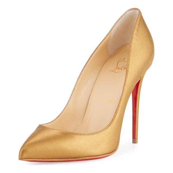 "CHRISTIAN LOUBOUTIN Pigalle Follies Leather 100mm Red Sole Pump - Christian Louboutin metallic napa leather pump. 4"" covered"