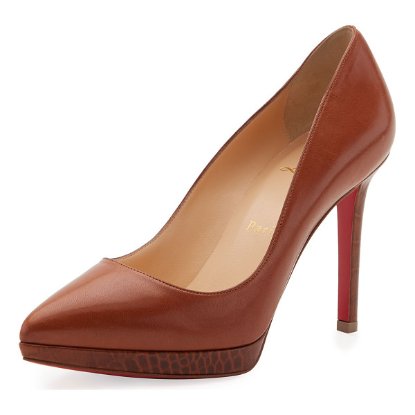 CHRISTIAN LOUBOUTIN Pigalle Plato Napa 100mm Red Sole Pump - Christian Louboutin shiny napa leather pump with...