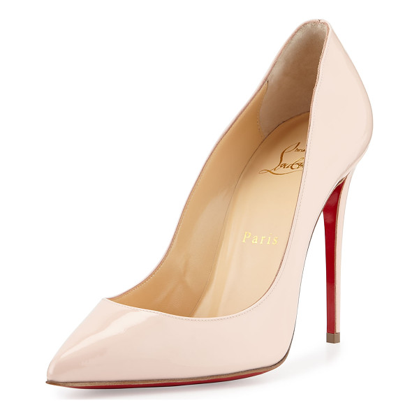 """CHRISTIAN LOUBOUTIN Pigalles follies patent 100mm red sole pump - Christian Louboutin patent leather pump. 4"""" covered..."""
