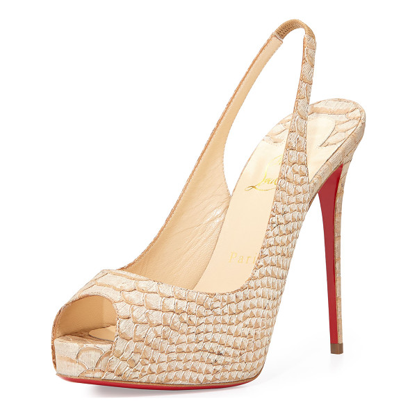 """CHRISTIAN LOUBOUTIN Private number python-embossed red sole pump - Christian Louboutin snake-printed fabric pump. 5"""" heel; 1""""..."""