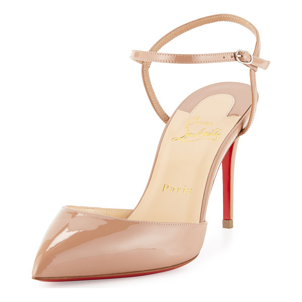 "CHRISTIAN LOUBOUTIN Rivierina patent ankle-wrap red sole pump - Christian Louboutin patent leather d'Orsay pump. 3. 5""..."