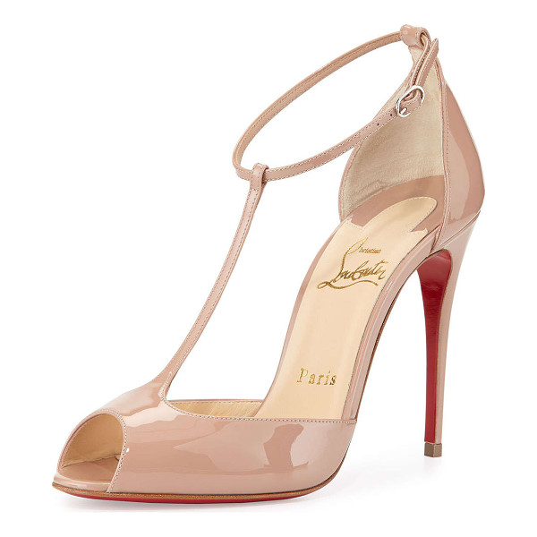 """CHRISTIAN LOUBOUTIN Senora patent t-strap red sole sandal -  Christian Louboutin patent leather sandal. 4"""" covered..."""