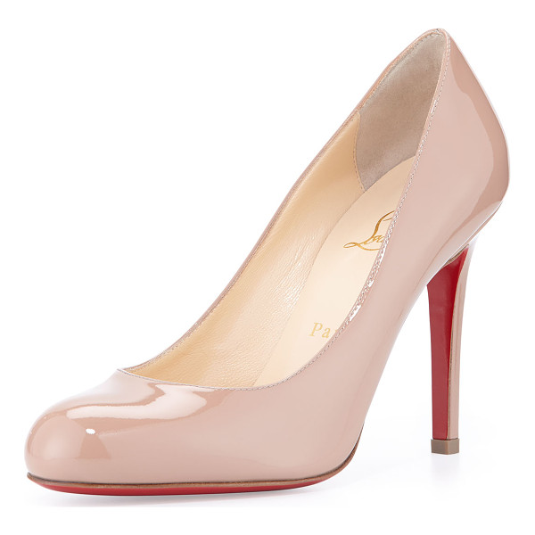 CHRISTIAN LOUBOUTIN Simple patent red sole pump - Christian Louboutin patent leather pump. Round toe; single...