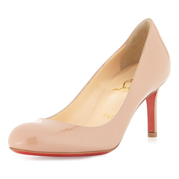 CHRISTIAN LOUBOUTIN Simple Patent Red Sole Pump - Patent leather upper. Round toe. Creamy leather lining....