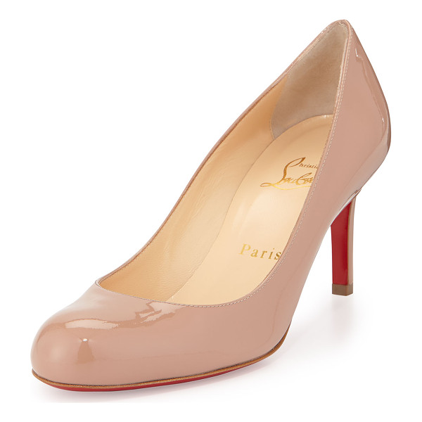 "CHRISTIAN LOUBOUTIN Simple Patent Red Sole Pump - Christian Louboutin patent leather pump. 2.8"" covered heel."