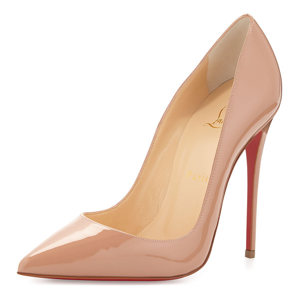 "CHRISTIAN LOUBOUTIN So Kate Patent Red Sole Pump - Christian Louboutin shiny patent leather pump. 4.8""..."