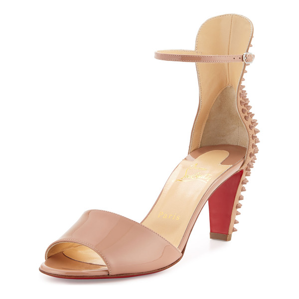 "CHRISTIAN LOUBOUTIN Trezanita spiked-heel red sole sandal - Christian Louboutin patent and matte leather sandal. 2. 8""..."