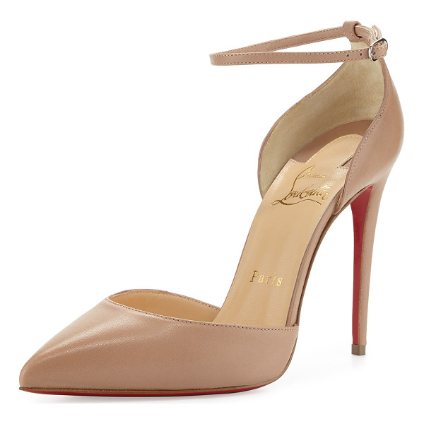 "CHRISTIAN LOUBOUTIN Uptown dorsay 100mm red sole pump - Christian Louboutin low-cut napa leather pump. 4"" covered..."