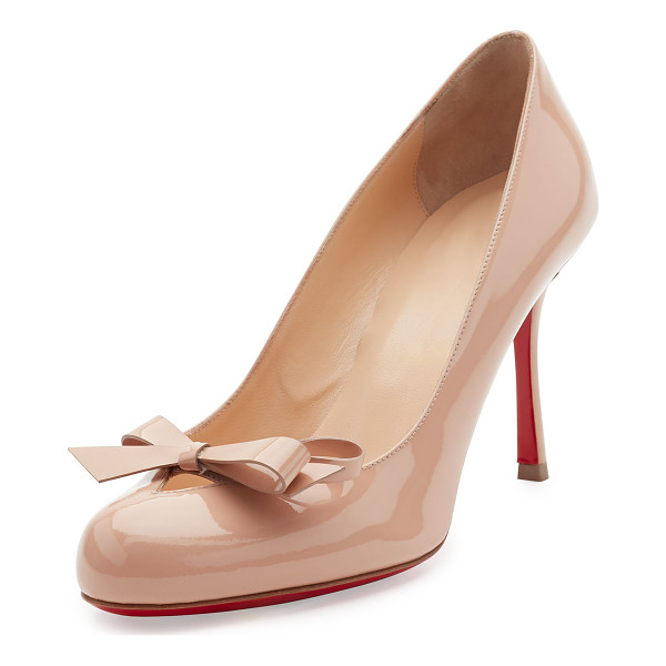 CHRISTIAN LOUBOUTIN Vinodo Patent Bow 85mm Red Sole Pump - Christian Louboutin patent leather pump. Available in
