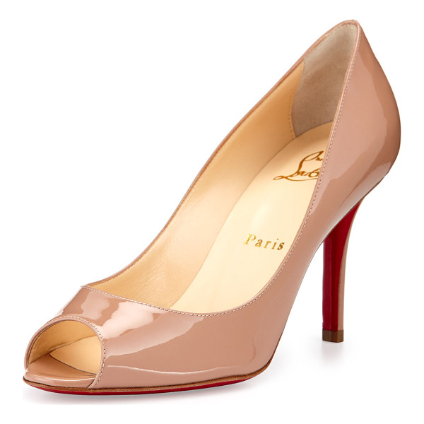 "CHRISTIAN LOUBOUTIN Youyou Patent 85mm Red Sole Pump - Christian Louboutin patent leather pump. 3.3"" covered heel...."