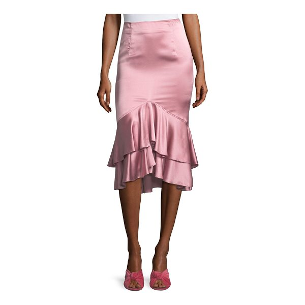 "CINQ A SEPT Anissa Fitted Satin Midi Skirt with Ruffled Hem - Cinq Sept ""Anissa"" silk satin skirt. Mid-rise; flat front...."