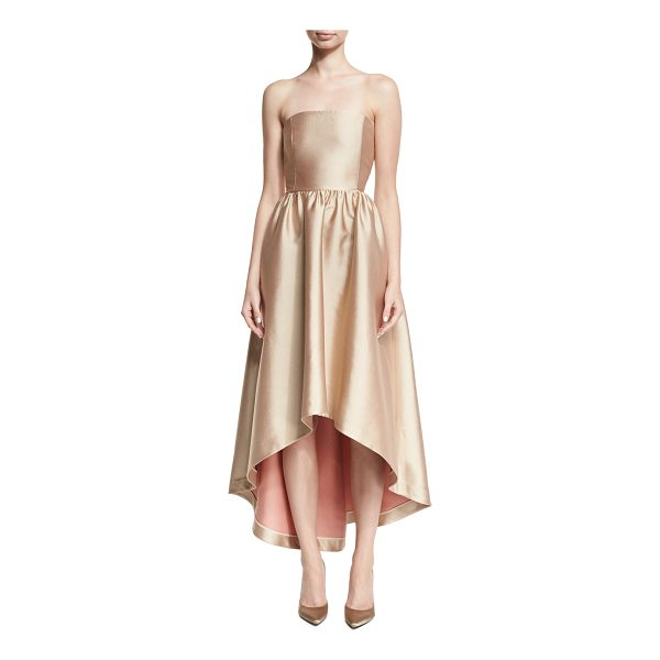 CO. Strapless Satin High-Low Cocktail Dress - Co cocktail dress in lustrous satin with visible contrast...