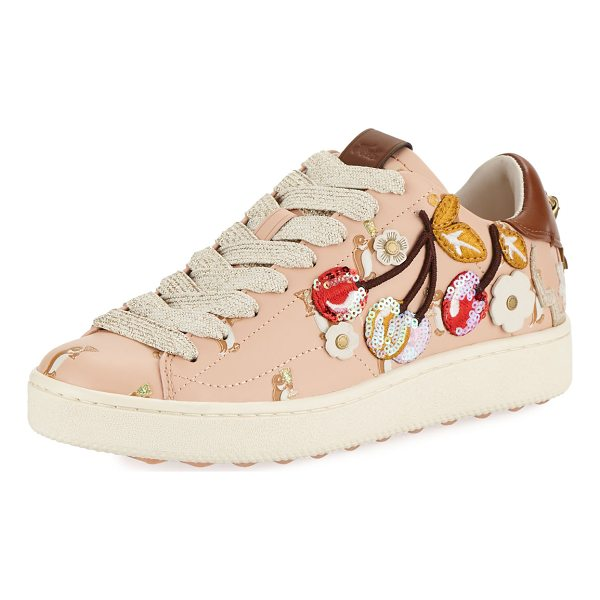 COACH C101 Cherries Patches Platform Sneaker - Coach leather sneaker with sequined and embroidered...