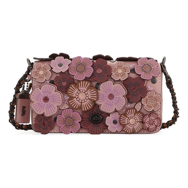 COACH Dinky Tea Rose Crossbody Bag - Coach 1941 leather crossbody with floral appliqu. Removable...