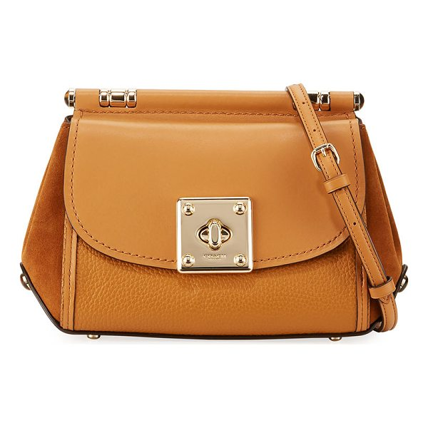 COACH Drifter Leather Crossbody Bag - Coach leather and suede crossbody bag. Removable,...