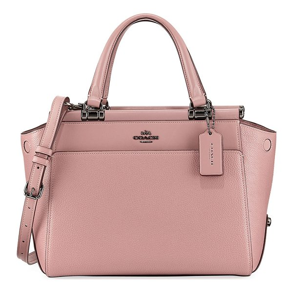 COACH Drifter Mixed Leather Top-Handle Bag - Coach satchel bag in mixed smooth and pebbled leather with...